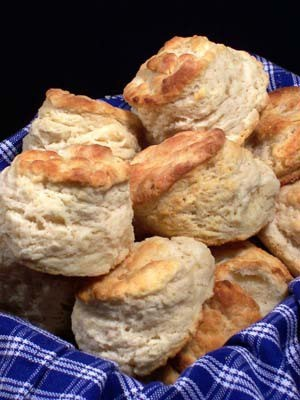 A pile of fluffy baked biscuits.
