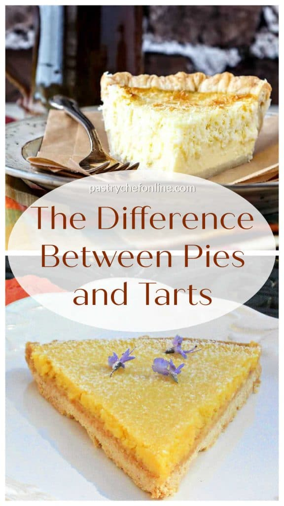 """Two photos showing a slice of pie and a slice of lemon tart. Text reads, """"The difference between pies and tarts."""""""