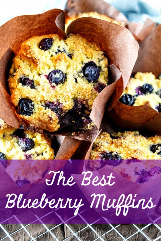 """pin image for blueberry muffins recipe text reads """"the best blueberry muffins"""""""