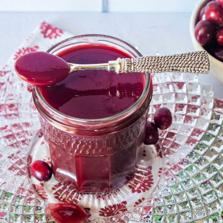 cranberry ketchup on a spoon