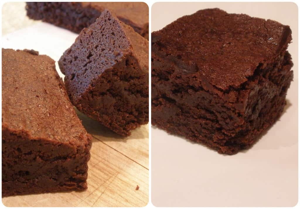 A collage of 2 images of squares of cocoa powder brownies.