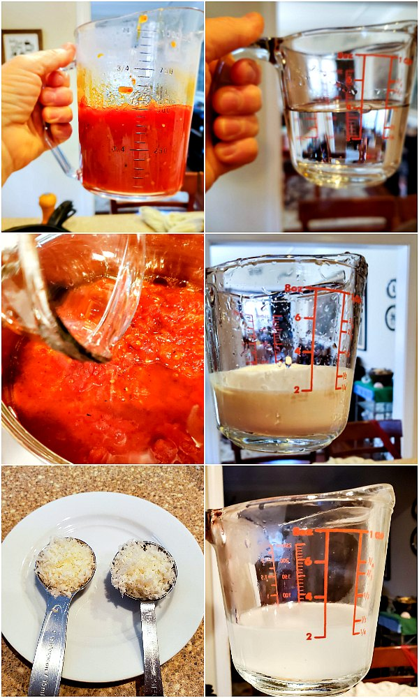 6 image step by step process shots of how to make vodka sauce.