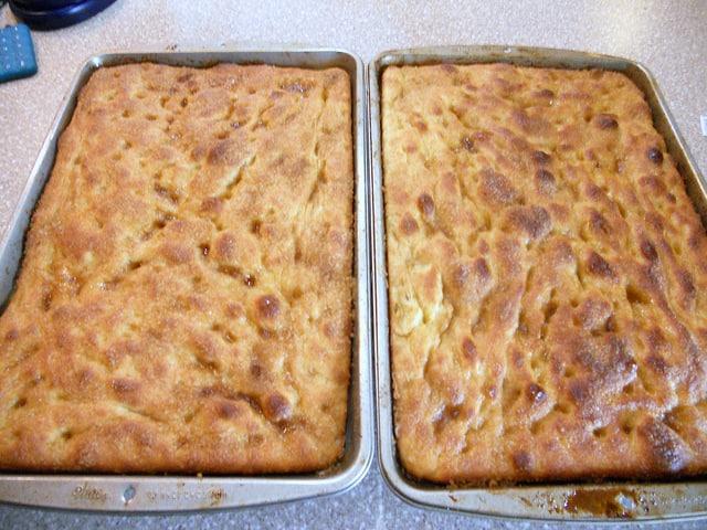 2 baked pans of Moravian sugar cake.
