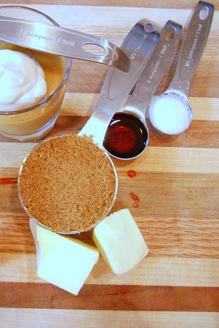 Ingredients to make butterscotch: brown sugar, butter, salt and vanilla.