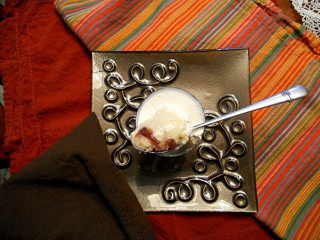 overhead shot of individual trifle recipe with a spoon