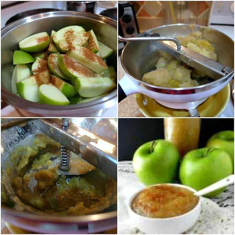 Collage of four images of making applesauce: sliced apples with cinnamon in a pot, pressing cooked apples through a food mill, a food mill with green apple skins left behind from pressing and a bowl of applesauce sprinkled with cinnamon.