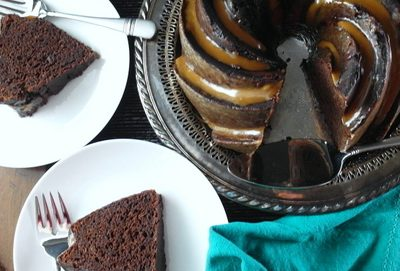 Double Chocolate Stout Cake with Vanilla Porter Toffee for Beer Month