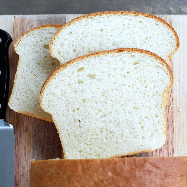 Sliced tangzhong bread showing the tight crumb.