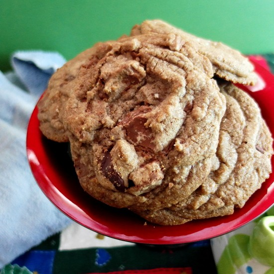 A plate of Brown Butter Toffee Chocolate Chip Cookies.