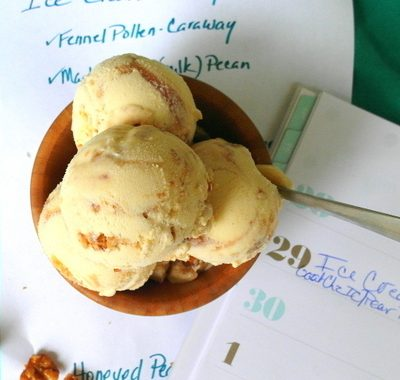 Honeyed Pear and Walnut Ice Cream for Ice Cream Tuesday