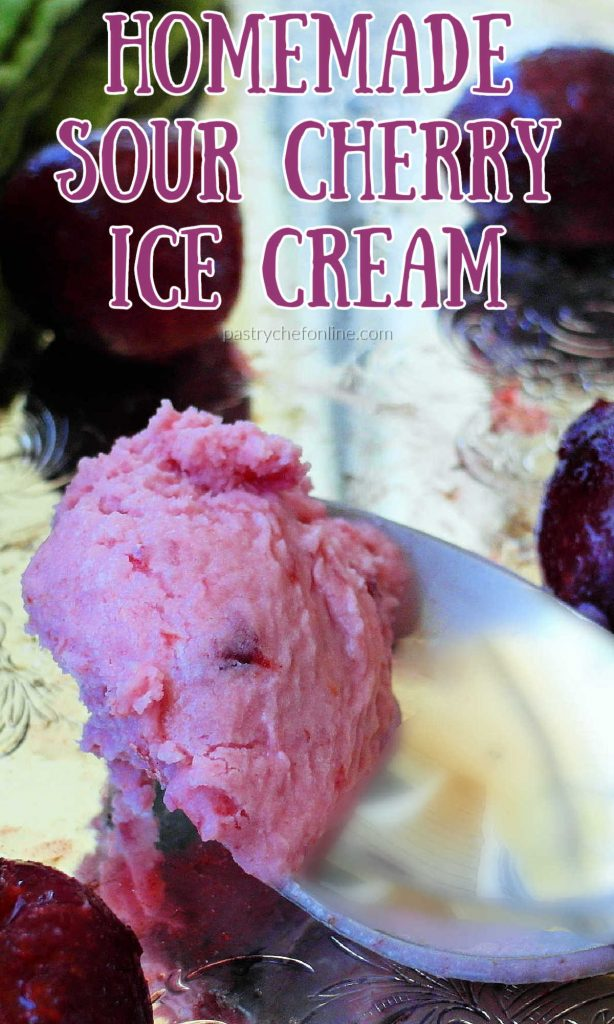 """bite of ice cream on a spoon text reads """"homemade sour cherry ice cream"""""""