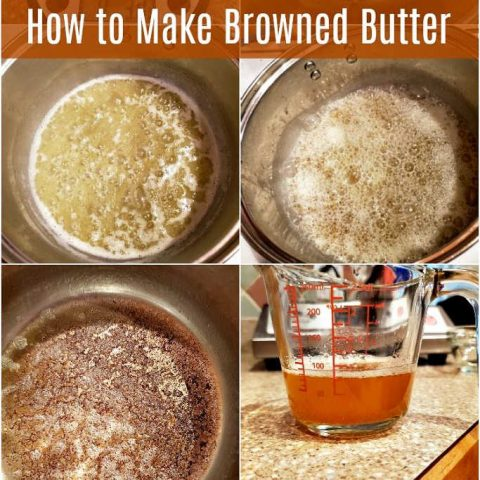 4 images showing how to make browned butter