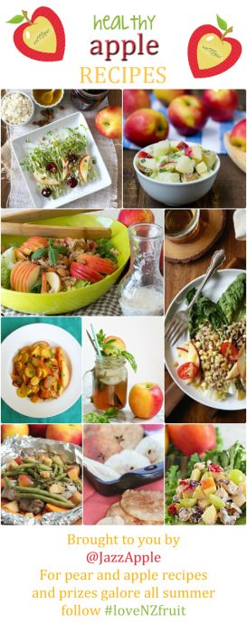 """Collage of Jazz apple recipes. Text reads: """"healthy apple recipes"""" brought to you by @JazzApple. For pear and apple recipes and prizes galore all summer follow #loveNZfruit."""