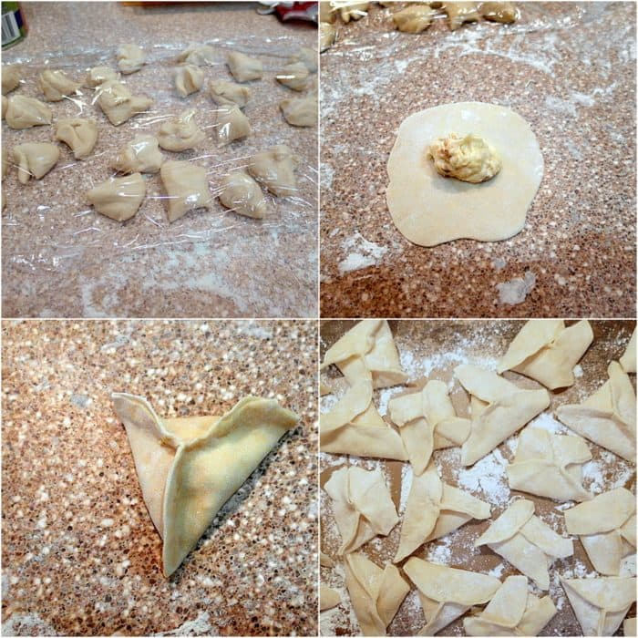 Collage of 4 pictures showing cookies at different stages: individual cookies on counter covered with plastic wrap, a round cirlcle of dough with fililing in the middle, one single cookie filled and shaped into a triangle dumpling, dozens of triangular shaped dumpling cookies on a floured counter.