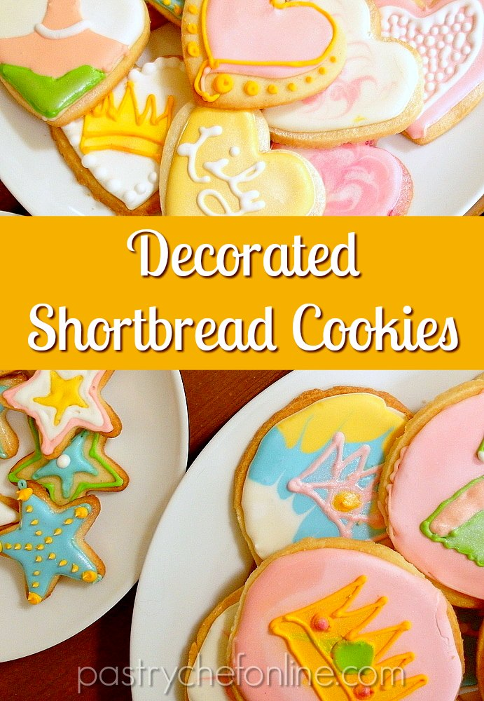 """overhead shots of white plates with decorated shortbread cookies Text reads """"decorated shortbread cookies"""""""