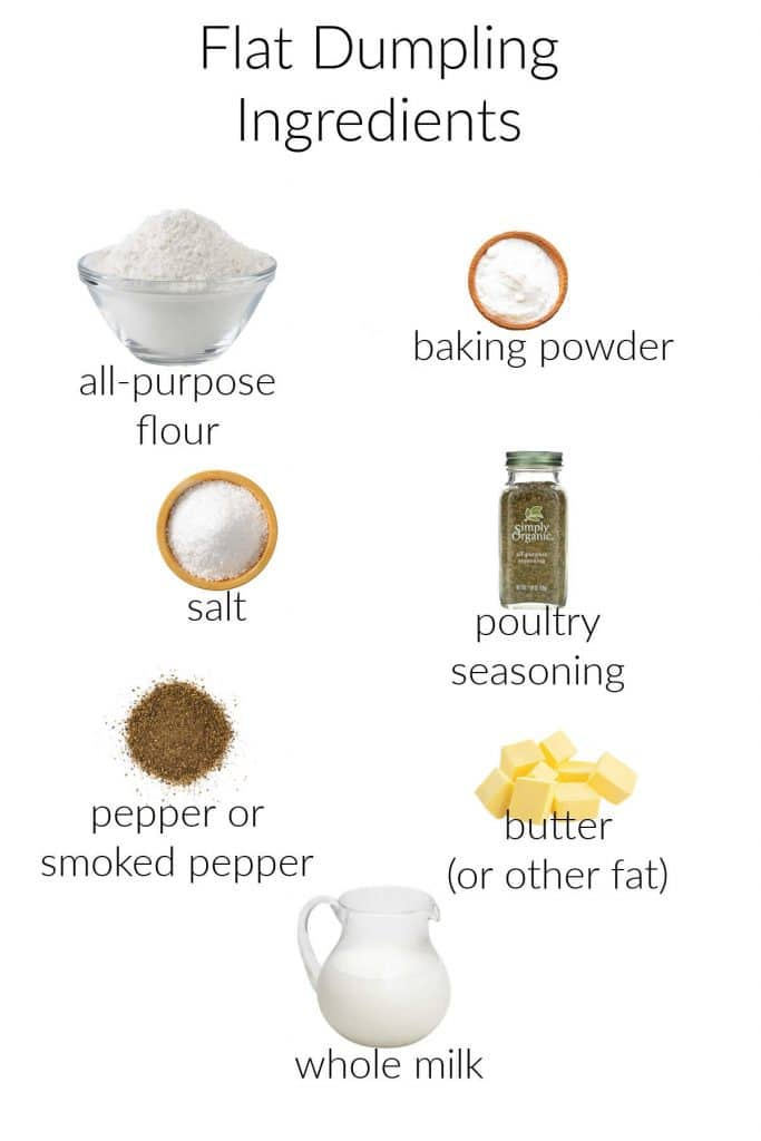 A collage of ingredients to make flat dumplings: all-purpose flour, baking powder, salt, poultry seasoning, black pepper, butter, and whole milk.