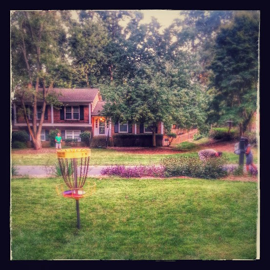 a Frisbee golf goal on a green lawn with people and a house in the background