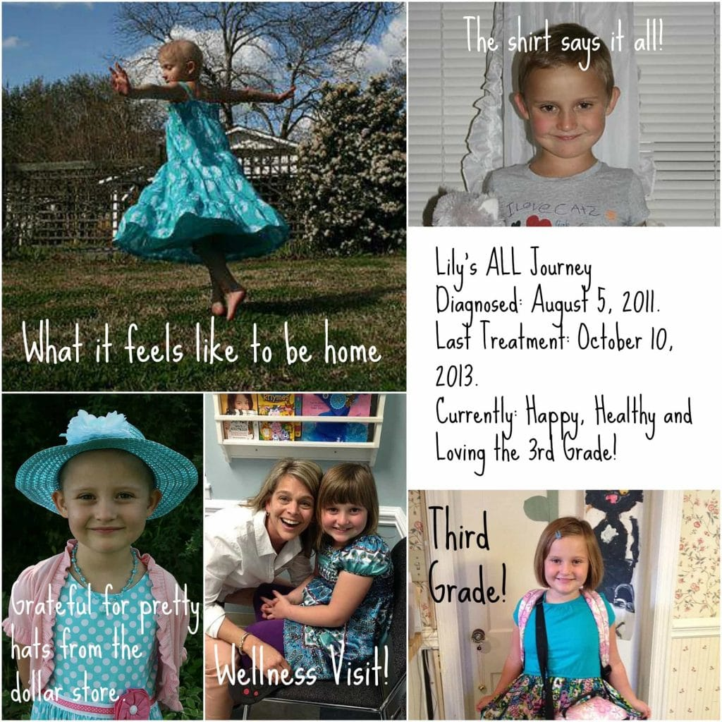 """Collage of photos of Lily. Text reads """"Lily's ALL Journey Diagnosed: August 5, 2011. Last Treatment: October 10, 2013. Currently: Happy, Healthy  and Loving the 3rd Grade!."""