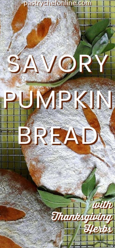 pin image for savory pumpkin bread text reads savory pumpkin bread with Thanksgiving herbs