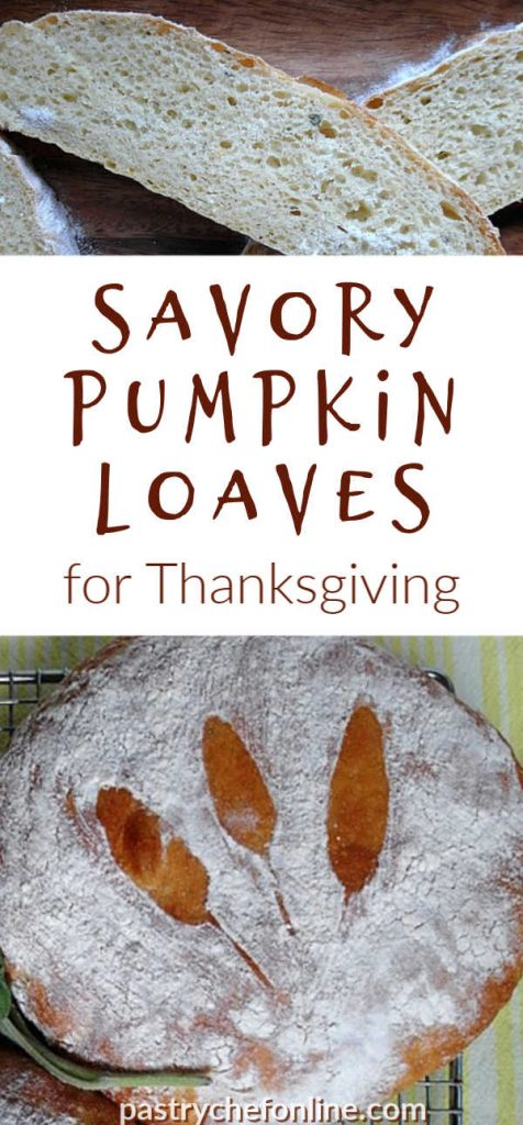 """image of a whole loaf of pumpkin bread and a sliced loaf text reads """"savory pumpkin loaves for Thanksgiving"""""""