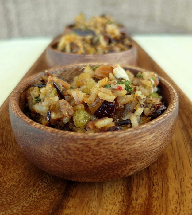 bowls of wild rice stuffing