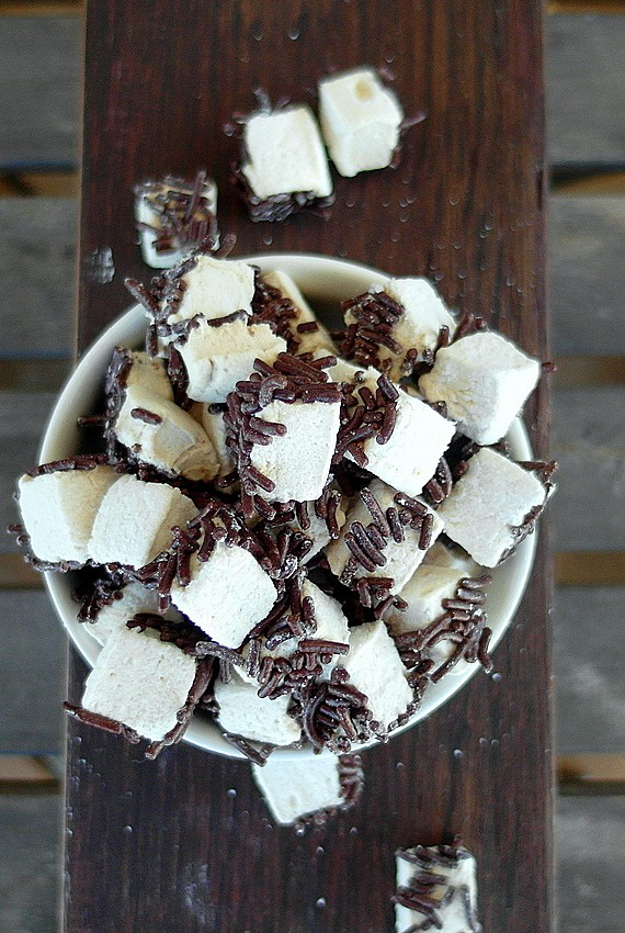 square homemade mini marshmallows with chocolate sprinkles