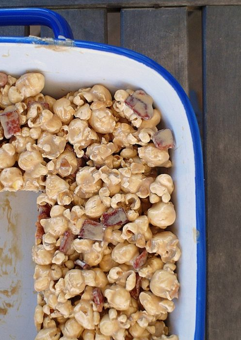 Close up of maple bacon popcorn treats in a pan.