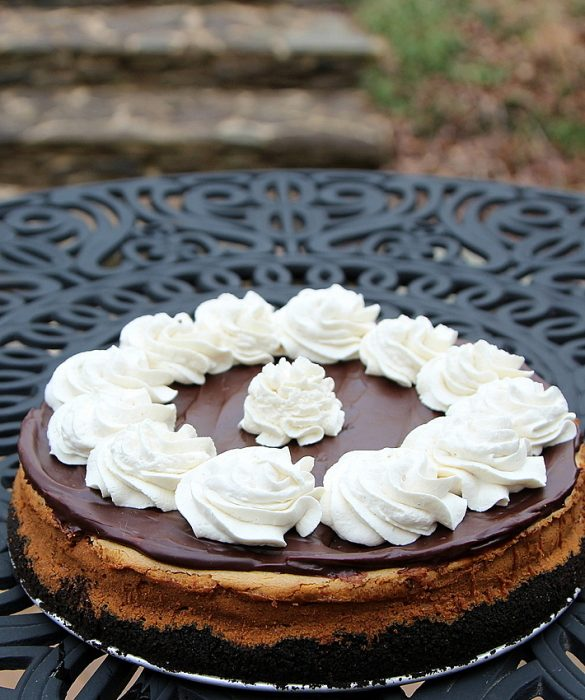 biscoff cookie butter cheesecake on a black table