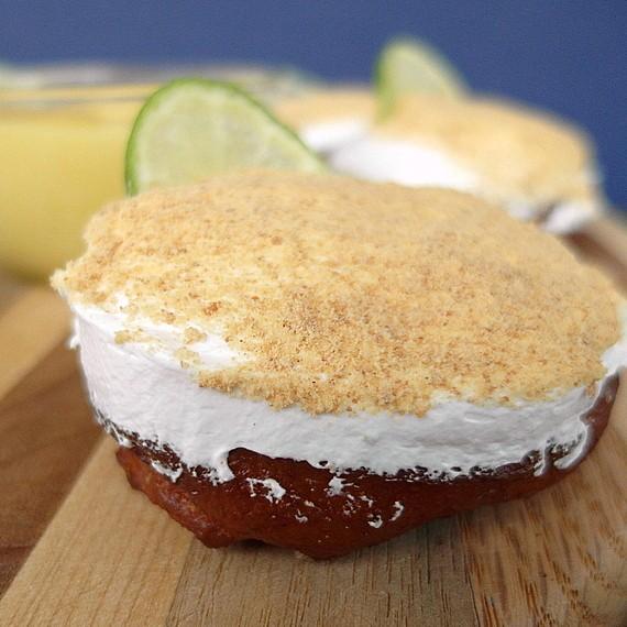 A close shot of one key lime pie doughnut.