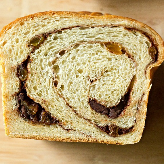 image illustrating why cinnamon bread separates showing a slice of bread swirled with raisins