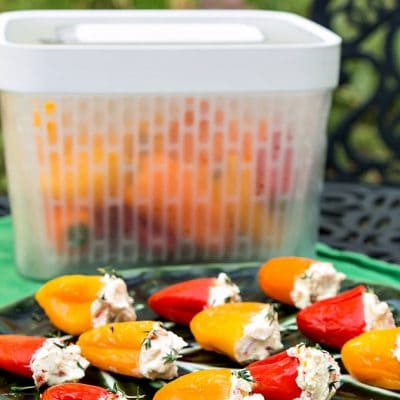 Herbed Goat Cheese Stuffed Pickled Peppers