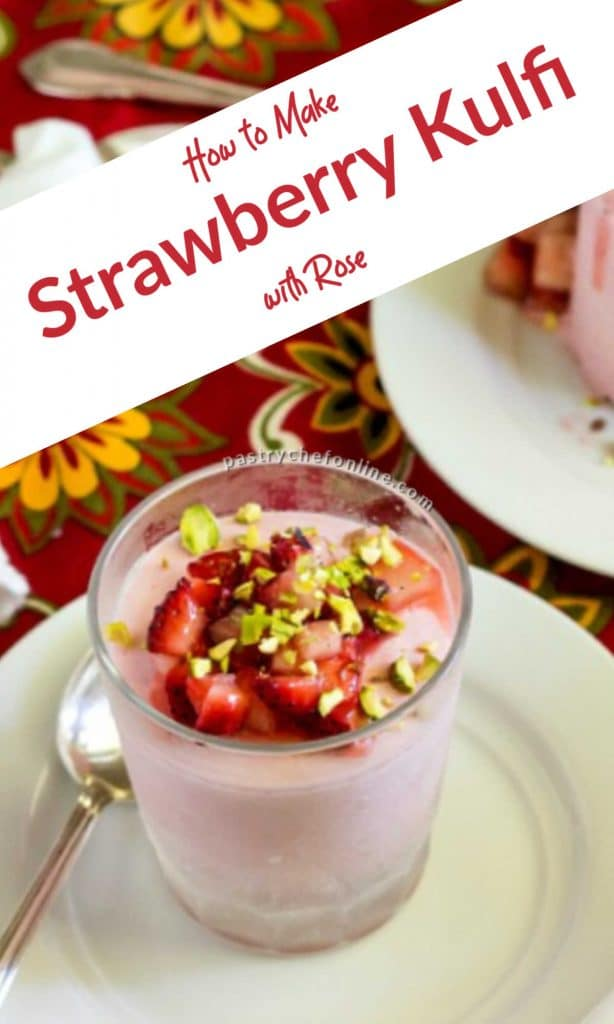 """kulfi on plate text reads """"how to make strawberry kulfi with rose"""""""