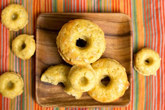 overhead shot of large and mini cornmeal donuts
