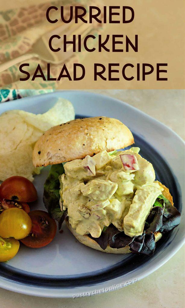 """chicken salad sandwich text reads """"curried chicken salad recipe"""""""