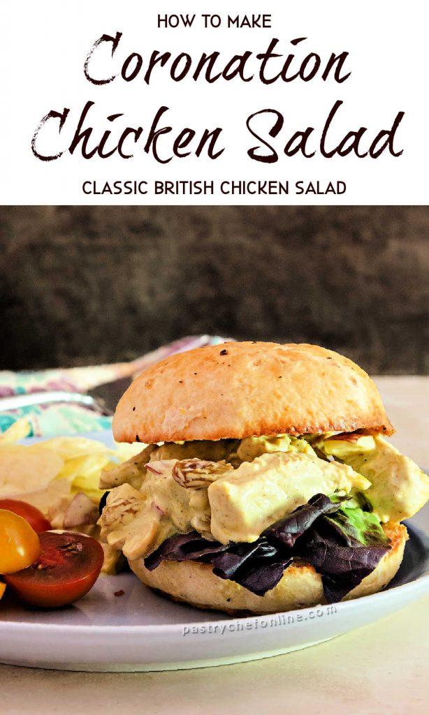 """chicken salad sandwich on a bun text reads how to make coronation chicken salad classic british chicken salad"""""""
