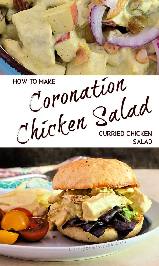 """2 images of chicken salad text reads """"how to make coronation chicken salad curried chicken salad"""""""