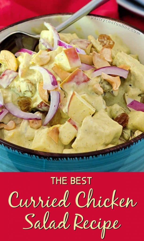 """bowl of curried chicken salad text reads """"the best curried chicken salad recipe"""""""