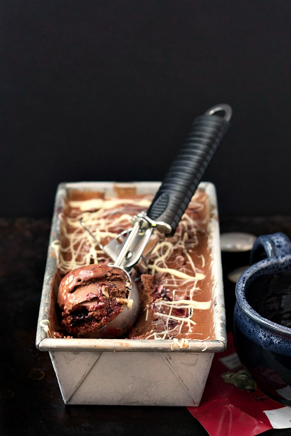 Metal pan of chocolate cherry almond gelato.
