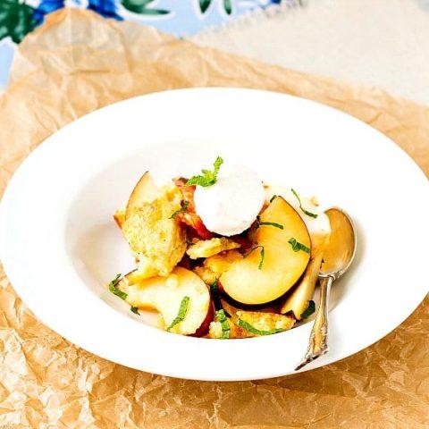 bowl of peach panzanella