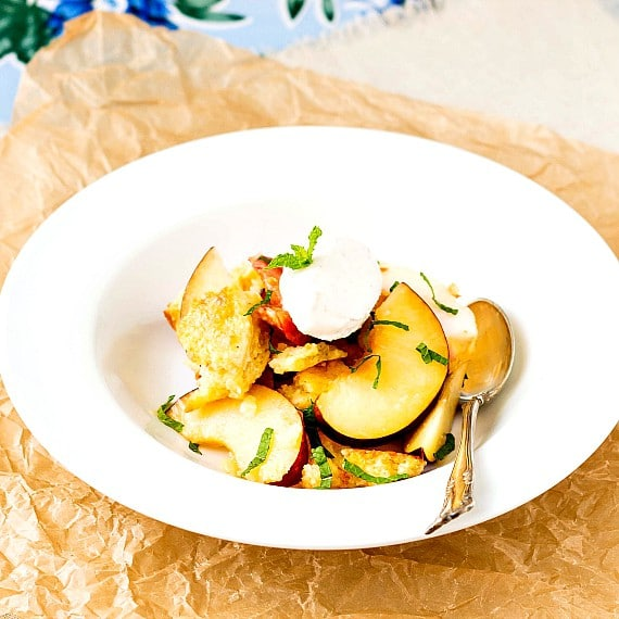 A bowl of peach panzanella with a spoon.