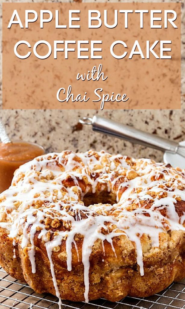"""apple butter coffee cake pin text reads """"apple butter coffee cake with chai spices"""""""