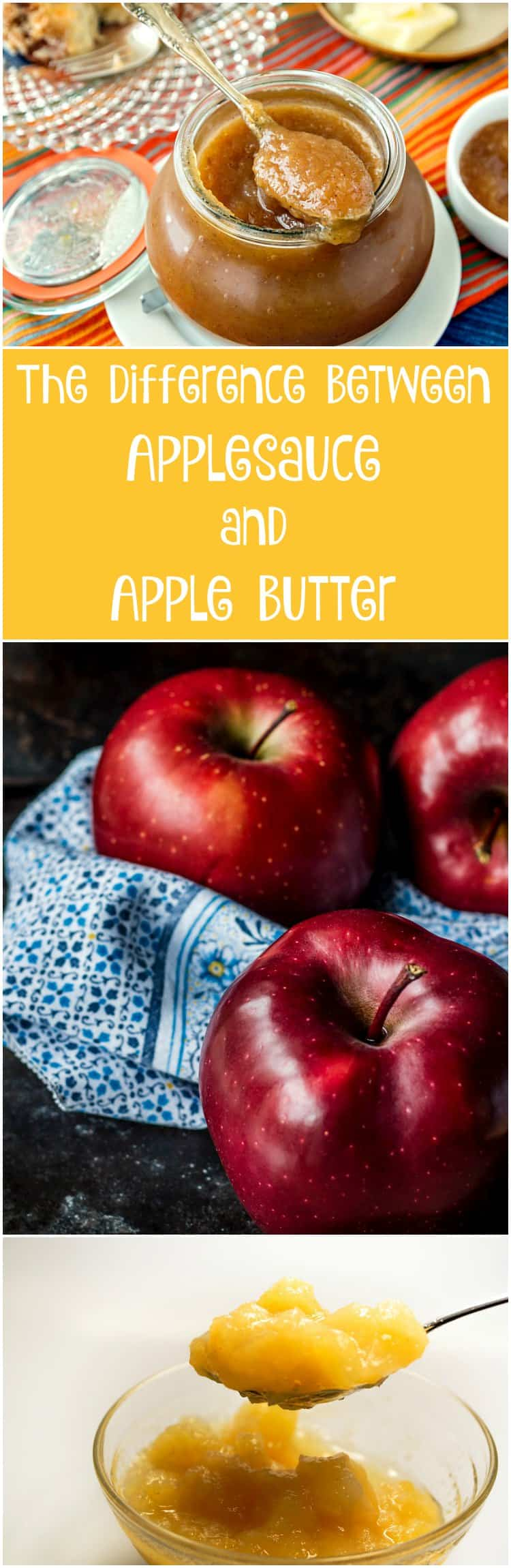 """Long pin of a jar of apple butter with text below reading, """"The difference between applesauce and apple butter"""". Below that is a picture of fresh red apples. and finally a glass bowl of applesauce with a spoonful of it lifting out."""