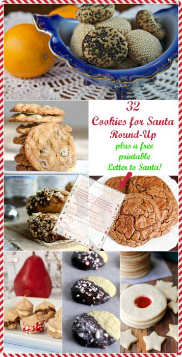 """a collage of cookies images text reads """"32 cookies for Santa Round-Up plus a free printable letter to Santa"""""""