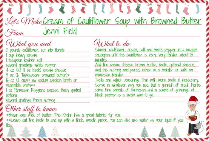 Cream of Cauliflower Soup Recipe card.