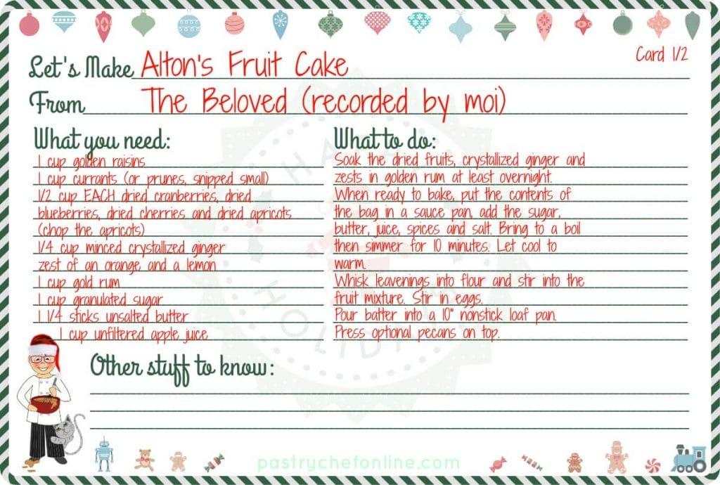Fruit Cake Recipe card.