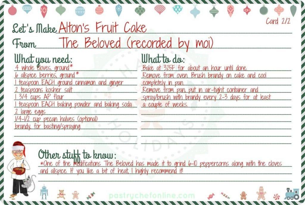 Fruit Cake Recipe  card part 2.