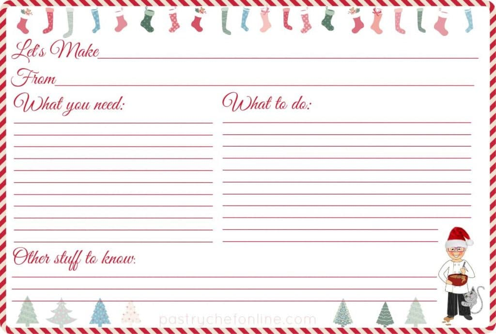 """recipe card with stockings at the top and christmas trees at the bottom. Text reads """"let's make,"""" """"From"""" """"What you need,"""" """"What to do"""" and """"other Stuff to know"""""""