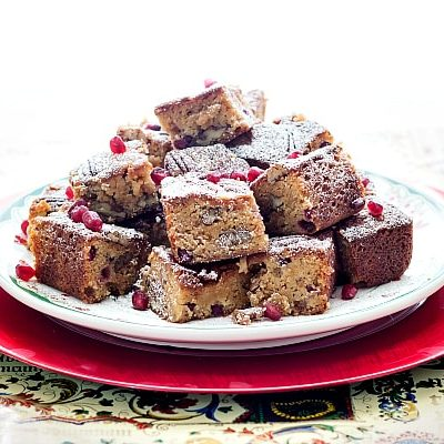 Christmas Sorghum Blondies with Pomegranate and Pecans