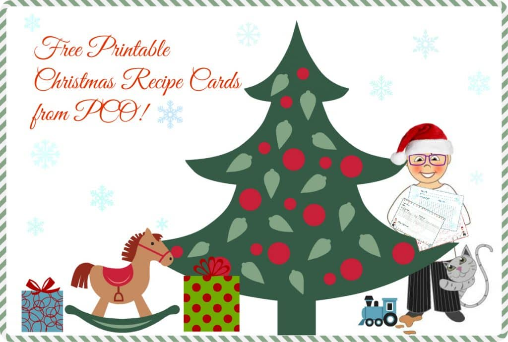 image for printable recipe cards featuring a christmas tree, presents and cartoon PCO wearing a Santa hat. Text reads Free printable christmas recipe cards from pco