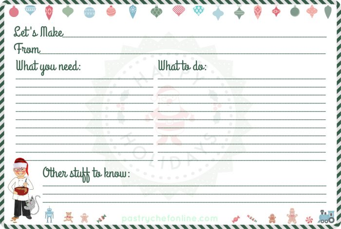 """recipe card with a green and white candy striped border, christmas ornaments at the top and christmas toys at the bottom. Text reads """"let's make,"""" """"From"""" """"What you need,"""" """"What to do"""" and """"other Stuff to know"""""""